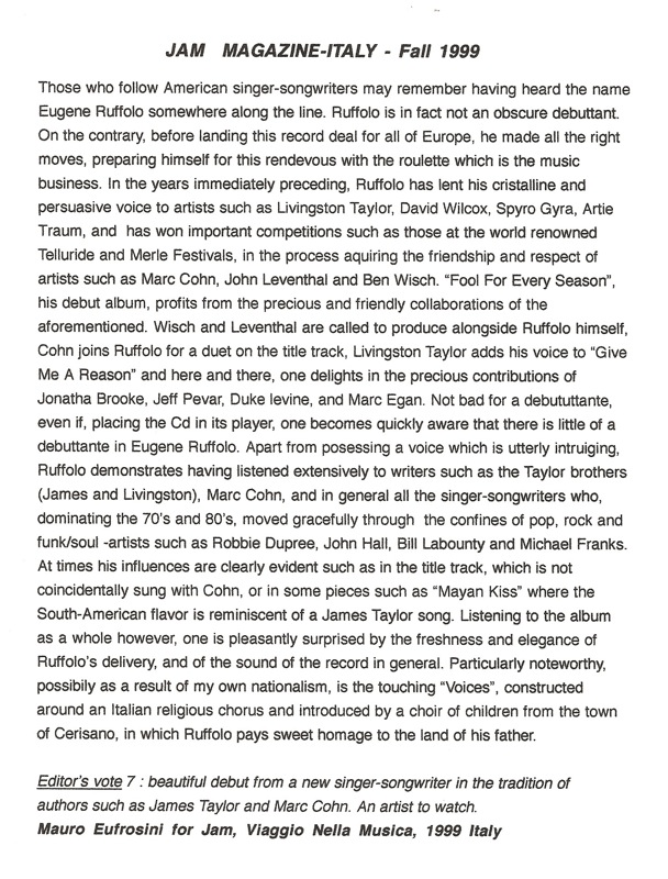 JAM MAGAZINE REVIEW--ITALY=ffes  in english--RE