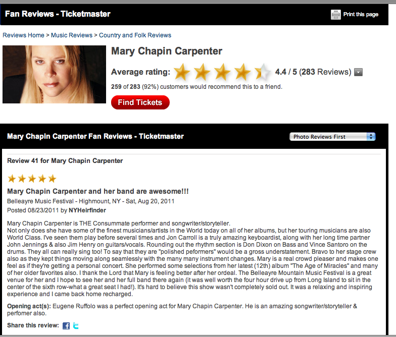mary chapin review--RE